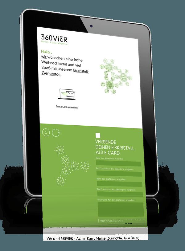 iPad_Screen1 360VIER wünscht kreative Weihnachten mit dem Eiskristall-Generator